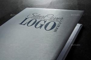 Мокап для Фотошопа. Фотореалистичный логотип тиснением на серебристой обложке